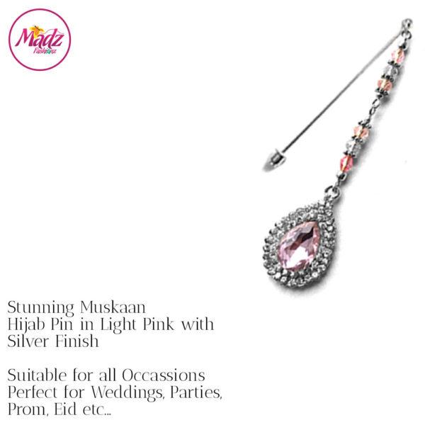 Madz Fashionz UK: Muskaan Chandelier Hijab Pin Stick Pin Hijab Jewels Hijab Pins Silver Light Pink