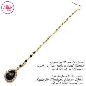 Madz Fashionz UK: Urvashi Rautela Kundan Crystal Stones Gold Maang Tikka Hair Tikka Gold Black