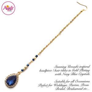 Madz Fashionz UK: Urvashi Rautela Kundan Crystal Stones Gold Maang Tikka Hair Tikka Gold Navy Blue