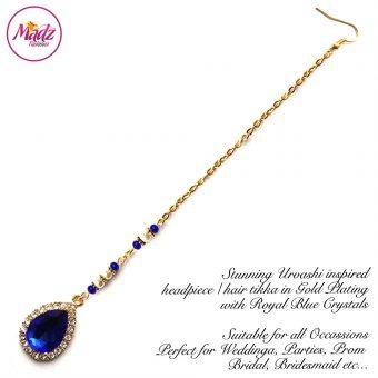 Madz Fashionz UK: Urvashi Rautela Kundan Crystal Stones Gold Maang Tikka Hair Tikka Gold Royal Blue
