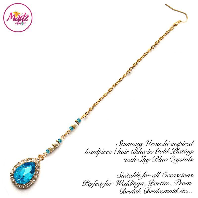 Madz Fashionz UK: Urvashi Rautela Kundan Crystal Stones Gold Maang Tikka Hair Tikka Gold Sky Blue