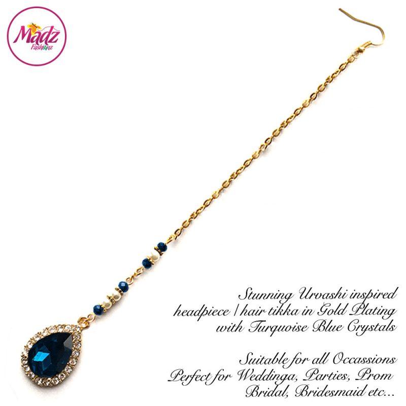 Madz Fashionz UK: Urvashi Rautela Kundan Crystal Stones Gold Maang Tikka Hair Tikka Gold Turquoise Blue