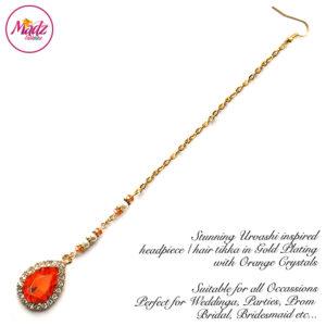 Madz Fashionz UK: Urvashi Rautela Kundan Crystal Stones Gold Maang Tikka Hair Tikka Gold Orange