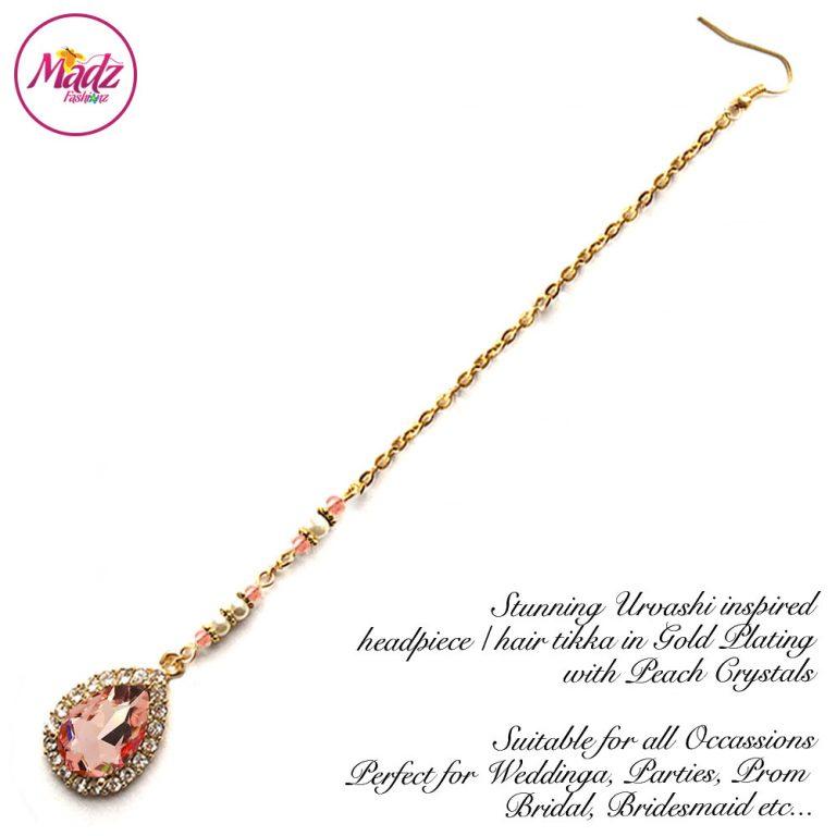 Madz Fashionz UK: Urvashi Rautela Kundan Crystal Stones Gold Maang Tikka Hair Tikka Gold Peach