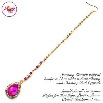 Madz Fashionz UK: Urvashi Rautela Kundan Crystal Stones Gold Maang Tikka Hair Tikka Gold Shocking Pink