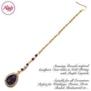 Madz Fashionz UK: Urvashi Rautela Kundan Crystal Stones Gold Maang Tikka Hair Tikka Gold Purple