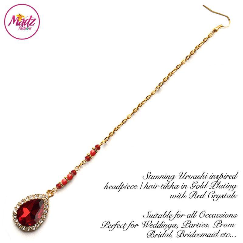 Madz Fashionz UK: Urvashi Rautela Kundan Crystal Stones Gold Maang Tikka Hair Tikka Gold Red