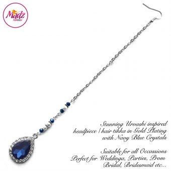 Madz Fashionz UK: Urvashi Rautela Kundan Crystal Stones Gold Maang Tikka Hair Tikka Silver Navy Blue