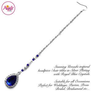 Madz Fashionz UK: Urvashi Rautela Kundan Crystal Stones Gold Maang Tikka Hair Tikka Silver Royal Blue