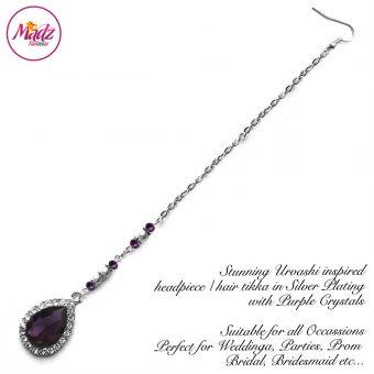 Madz Fashionz UK: Urvashi Rautela Kundan Crystal Stones Gold Maang Tikka Hair Tikka Silver Purple