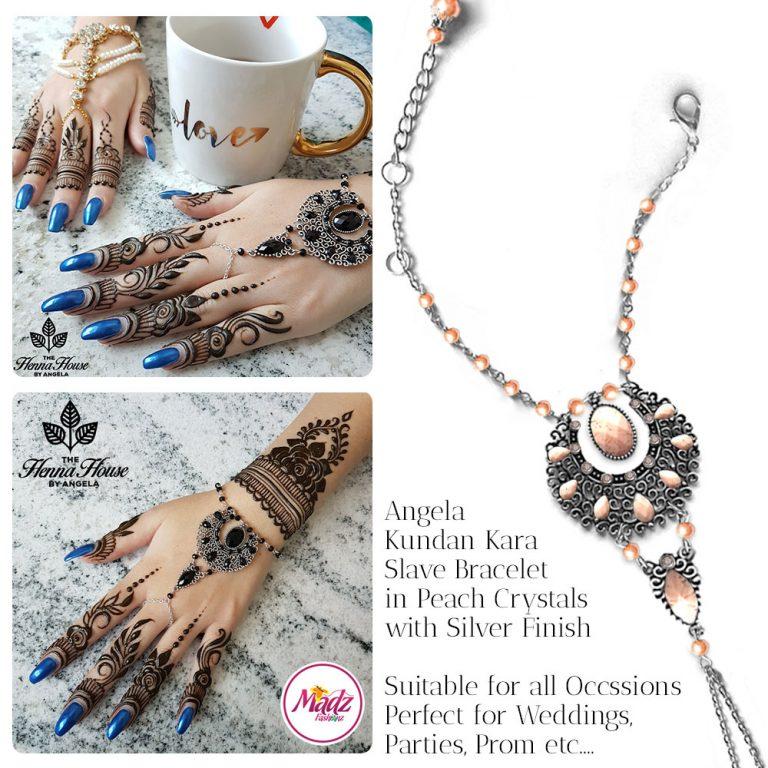 Madz Fashionz UK: Hennabyang Angela Traditional Kundan Crystal Handchain slave bracelet hand jewels Silver Peach