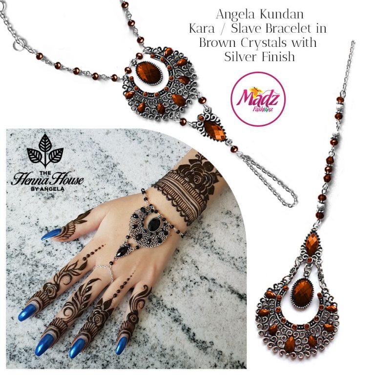 Madz Fashionz UK: Hennabyang Angela Traditional Kundan Crystal Hand chain Slave Bracelet Tikka Set Silver Red