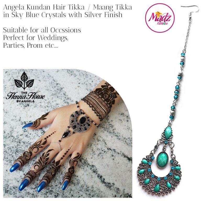 Madz Fashionz UK: Hennabyang Angela Traditional Kundan Crystal Maang Tikka Hair Tikka Headpiece Silver Sky Blue