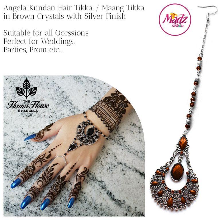 Madz Fashionz UK: Hennabyang Angela Traditional Kundan Crystal Maang Tikka Hair Tikka Headpiece Silver Red