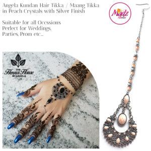 Madz Fashionz UK: Hennabyang Angela Traditional Kundan Crystal Maang Tikka Hair Tikka Headpiece Silver Peach