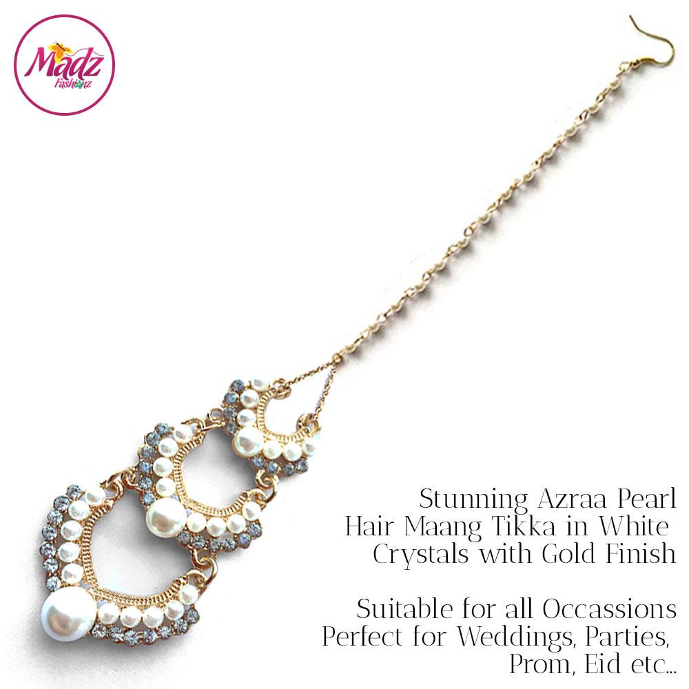 Madz Fashionz UK: Azraa Gold White Pearl Chandelier Maang Tikka Headpiece Hair Tikka