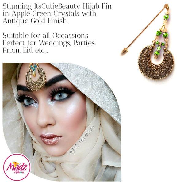 Madz Fashionz UK: ItsCutieBeauty Kundan Hijab Pin Stick Pin Hijab Jewels Hijab Pins Antique Gold Apple Green