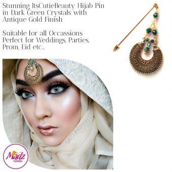 Madz Fashionz UK: ItsCutieBeauty Kundan Hijab Pin Stick Pin Hijab Jewels Hijab Pins Antique Gold Green Dark