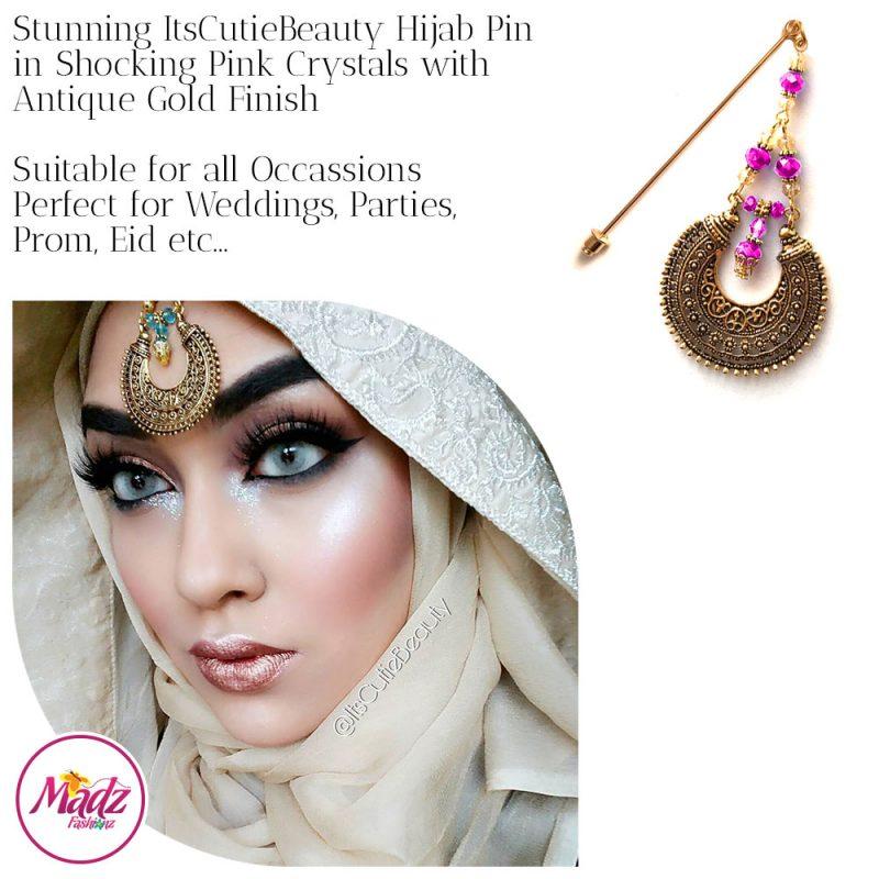 Madz Fashionz UK: ItsCutieBeauty Kundan Hijab Pin Stick Pin Hijab Jewels Hijab Pins Antique Gold Shocking Pink