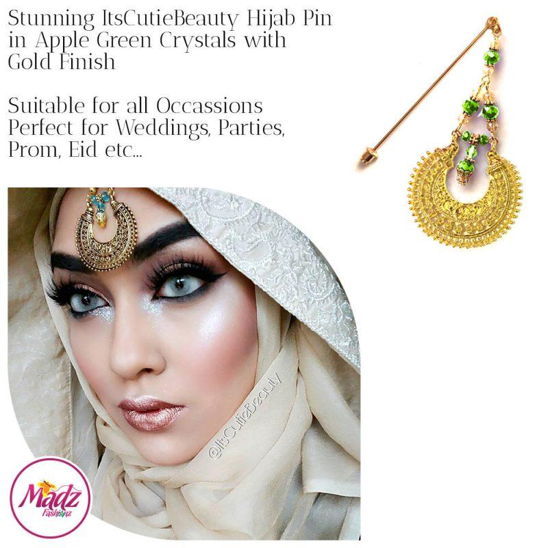 Madz Fashionz UK: ItsCutieBeauty Kundan Hijab Pin Stick Pin Hijab Jewels Hijab Pins Gold Apple Green