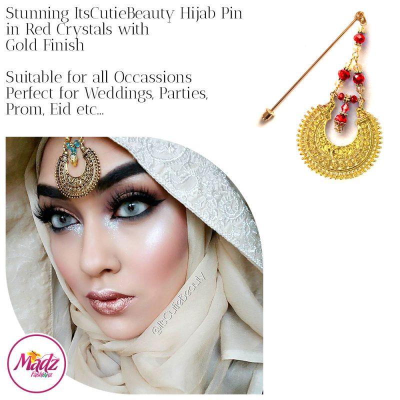 Madz Fashionz UK: ItsCutieBeauty Kundan Hijab Pin Stick Pin Hijab Jewels Hijab Pins Gold Red