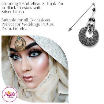 Madz Fashionz UK: ItsCutieBeauty Kundan Hijab Pin Stick Pin Hijab Jewels Hijab Pins Silver Black