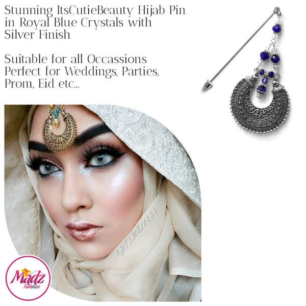 Madz Fashionz UK: ItsCutieBeauty Kundan Hijab Pin Stick Pin Hijab Jewels Hijab Pins Silver Royal Blue