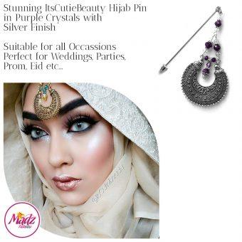 Madz Fashionz UK: ItsCutieBeauty Kundan Hijab Pin Stick Pin Hijab Jewels Hijab Pins Silver Purple