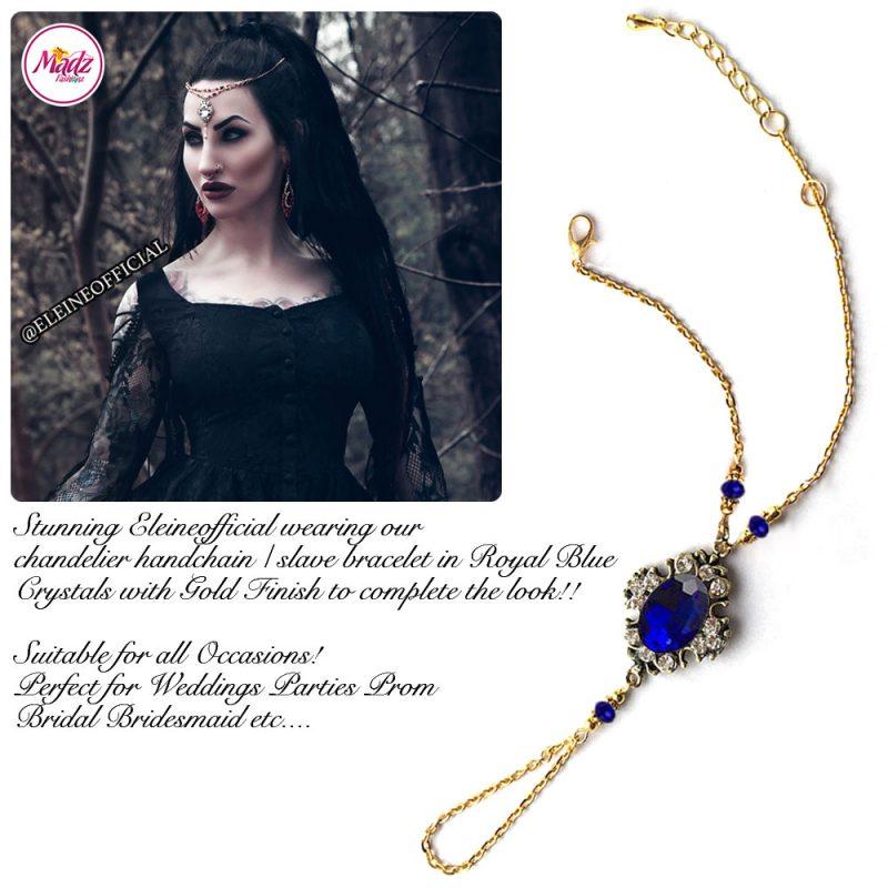 Madz Fashionz UK: Eleineofficial Kundan Hand Chain Slave Bracelet Antique Gold Royal Blue