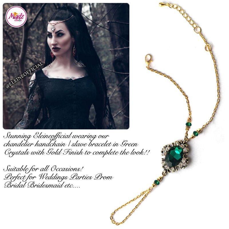 Madz Fashionz UK: Eleineofficial Kundan Hand Chain Slave Bracelet Antique Gold Green Emerald