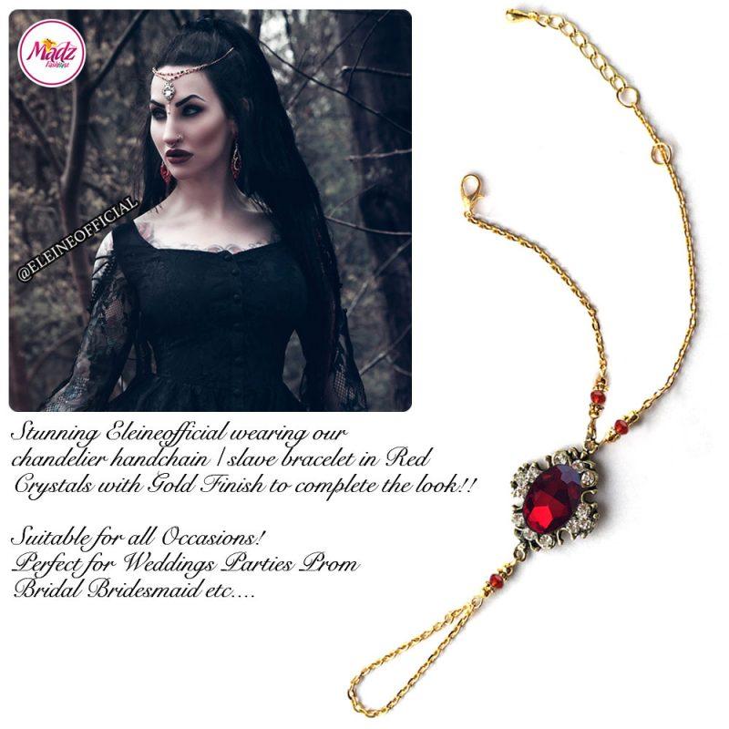 Madz Fashionz UK: Eleineofficial Kundan Hand Chain Slave Bracelet Antique Gold Red