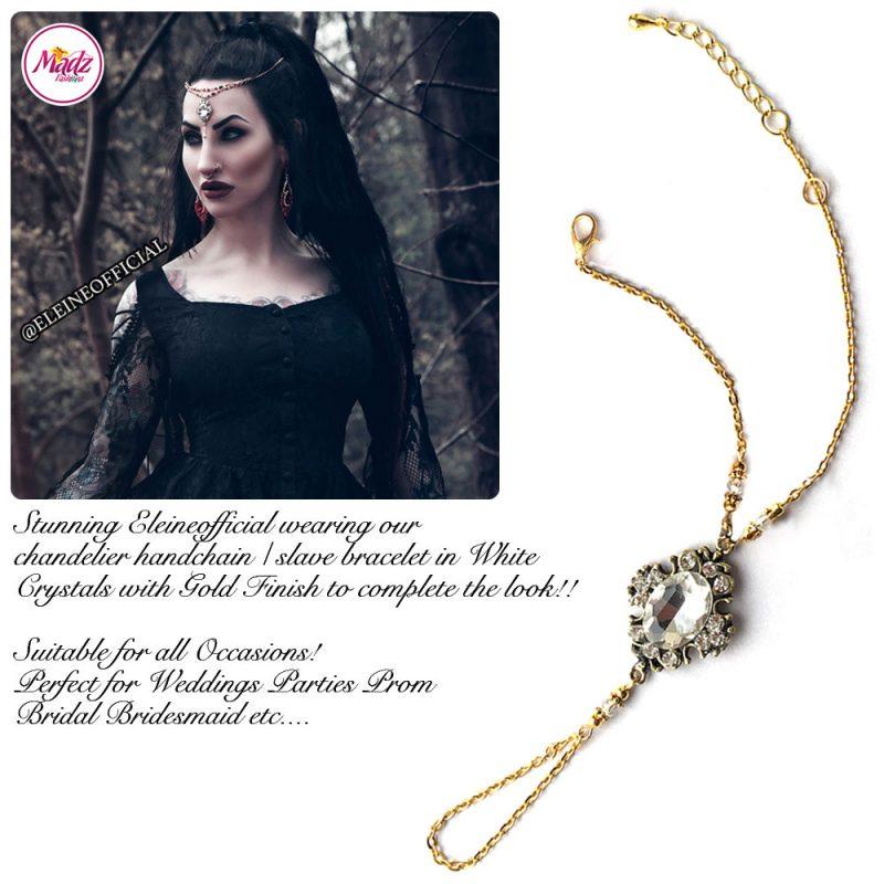 Madz Fashionz UK: Eleineofficial Kundan Hand Chain Slave Bracelet Antique Gold White