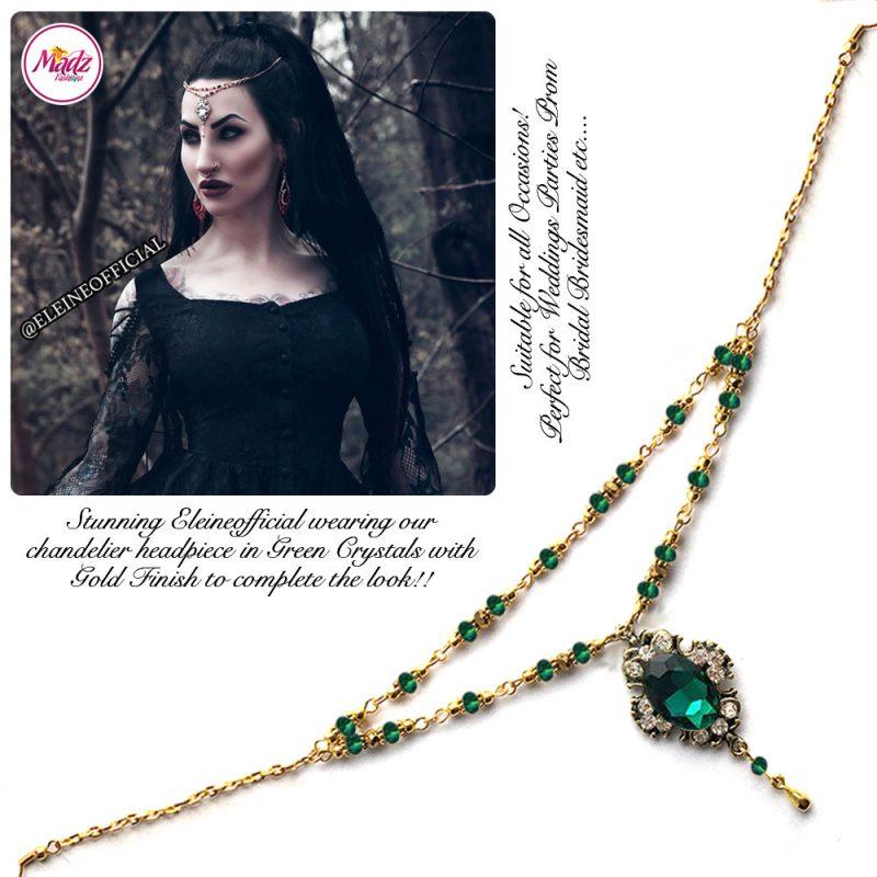 Madz Fashionz UK: Eleineofficial Kundan Headpiece Matha Patti Antique Gold Green Emerald