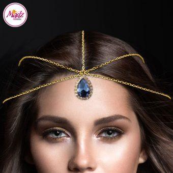 Madz Fashionz UK: Gold Navy Blue Light Hair Jewellery Headpiece Matha Patti