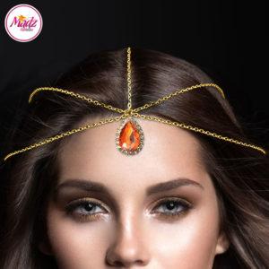 Madz Fashionz UK: Gold and Orange Hair Jewellery Headpiece Matha Patti