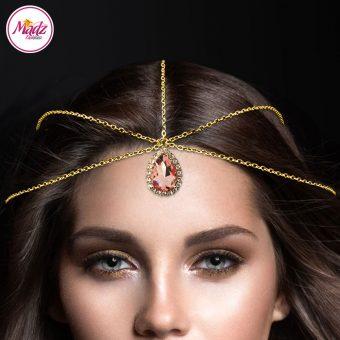 Madz Fashionz UK: Gold Peach Hair Jewellery Headpiece Matha Patti