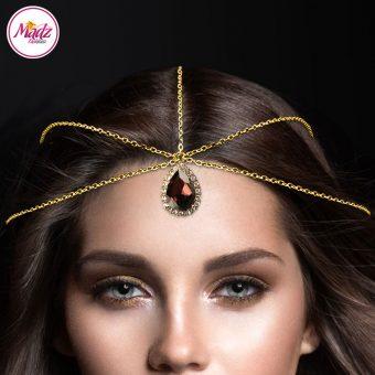 Madz Fashionz UK: Gold and Coffee Red Hair Jewellery Headpiece Matha Patti