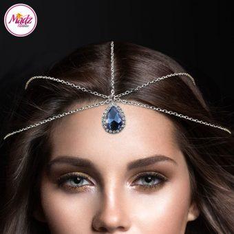 Madz Fashionz UK: Silver and Navy Blue Light Hair Jewellery Headpiece Matha Patti