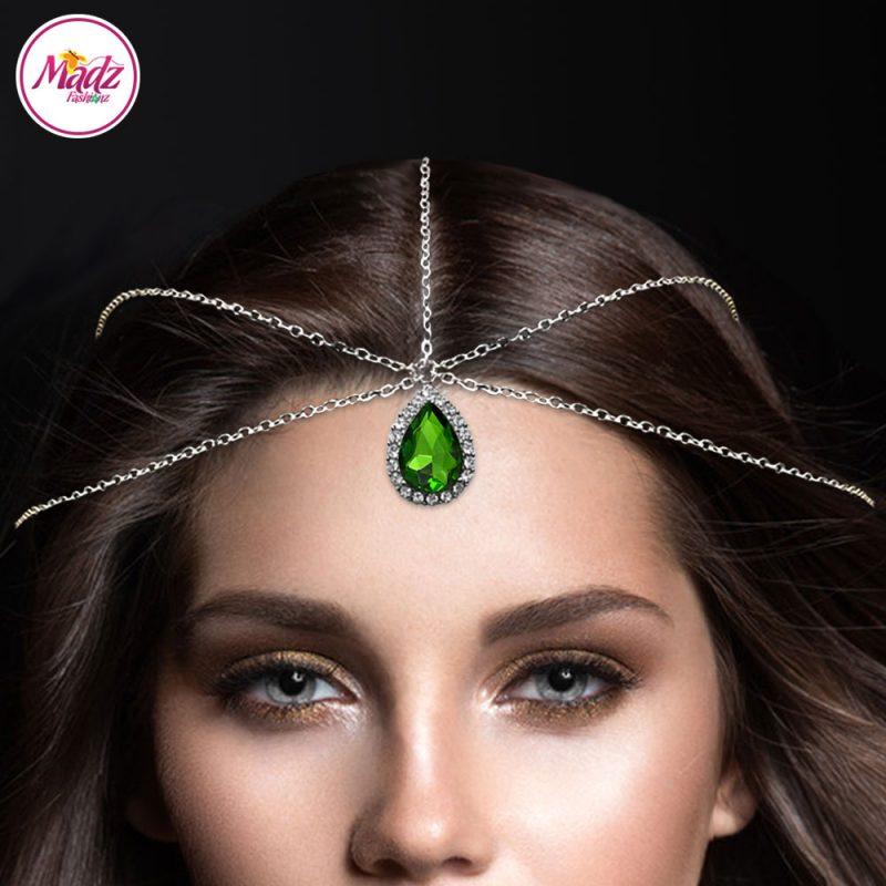 Madz Fashionz UK: Silver and Leaf Green Hair Jewellery Headpiece Matha Patti