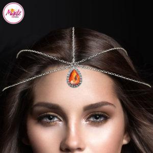 Madz Fashionz UK: Silver and Orange Hair Jewellery Headpiece Matha Patti