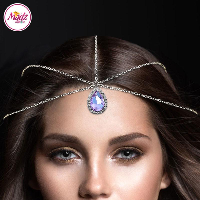 Madz Fashionz UK: Silver and Violet Hair Jewellery Headpiece Matha Patti