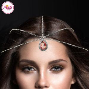 Madz Fashionz UK: Silver and Peach Hair Jewellery Headpiece Matha Patti