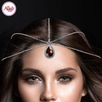 Madz Fashionz UK: Silver and Coffee Red Hair Jewellery Headpiece Matha Patti