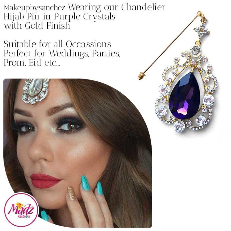 Madz Fashionz UK: Makeupbysanchez Chandelier Drop Hijab Pin Stick Pin Hijab Jewels Hijab Pins Gold Purple