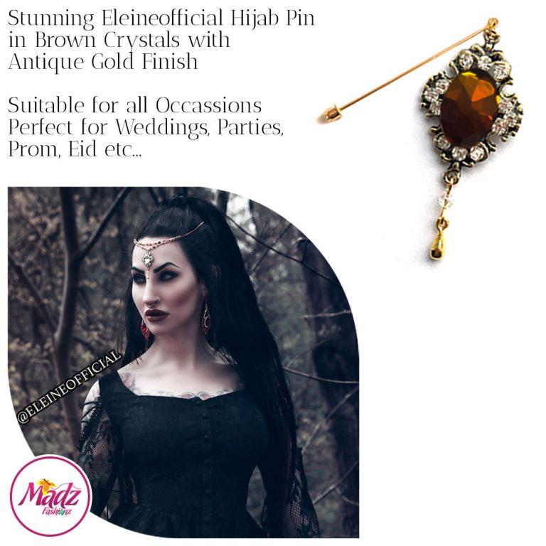 Madz Fashionz UK: Eleineofficial Kundan Hijab Pin Hijab Jewels Stick Pins Antique Gold Brown