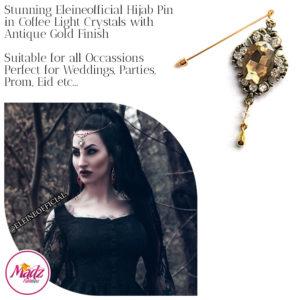 Madz Fashionz UK: Eleineofficial Kundan Hijab Pin Hijab Jewels Stick Pins Antique Gold Light Coffee