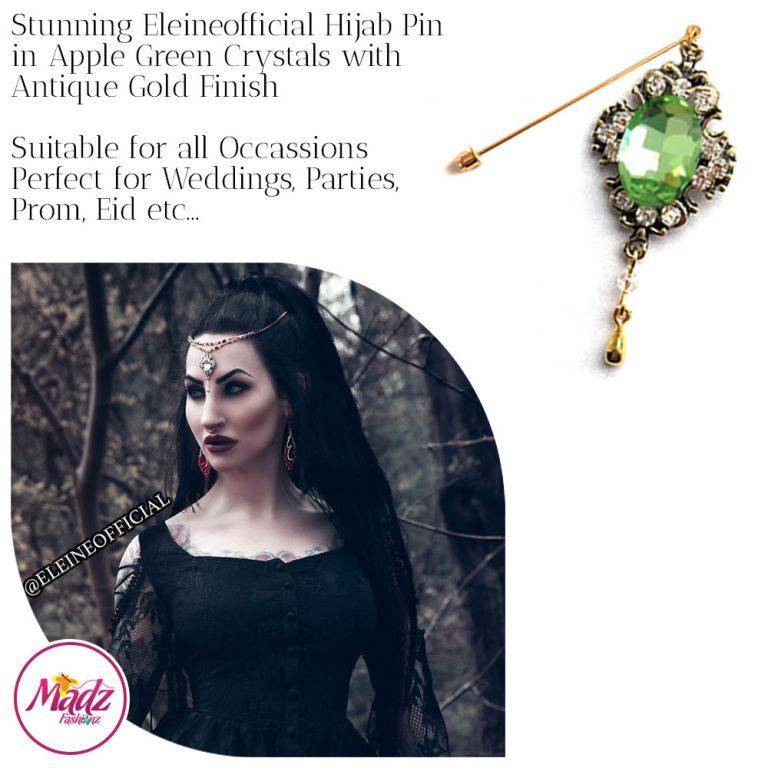 Madz Fashionz UK: Eleineofficial Kundan Hijab Pin Hijab Jewels Stick Pins Antique Gold Apple Green