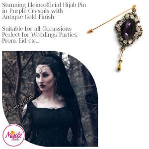 Madz Fashionz UK: Eleineofficial Kundan Hijab Pin Hijab Jewels Stick Pins Antique Gold Purple