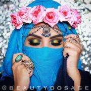 Antique Gold Blue Head Piece , Bridal Hair Jewelry , Beautydosage prom hair accessories , wedding jewelry , matha patti , Hijab tikka