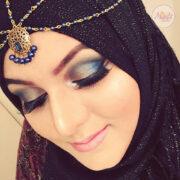 Antique Gold Blue Head Piece , Bridal Hair Jewelry , Madiha prom hair accessories , wedding jewelry , matha patti , Hijab tikka